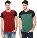 Rigo Solid Men's Round Neck Multicolor T...