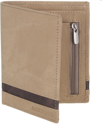 MARKQUES Men Beige Artificial Leather Wallet(4 Card Slots)