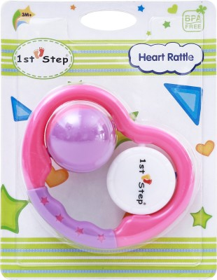 1st Step Heart Rattle Rattle(Pink, Purple)