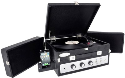 Pyle PLTT82BTBK Vintage Retro Classic Style Bluetooth Turntable Record Player with Vinyl-To-MP3 Recording FM Radio(Black)
