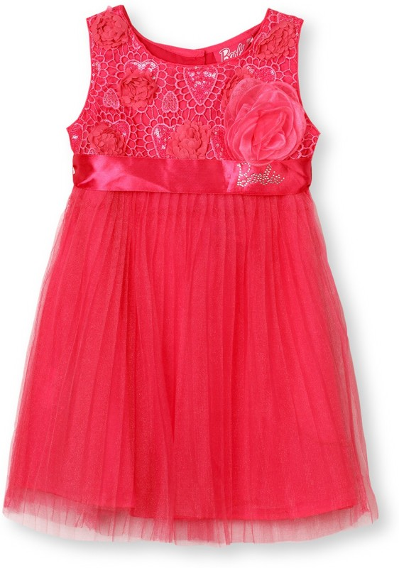 Barbie Midi/Knee Length Party Dress(Pink)