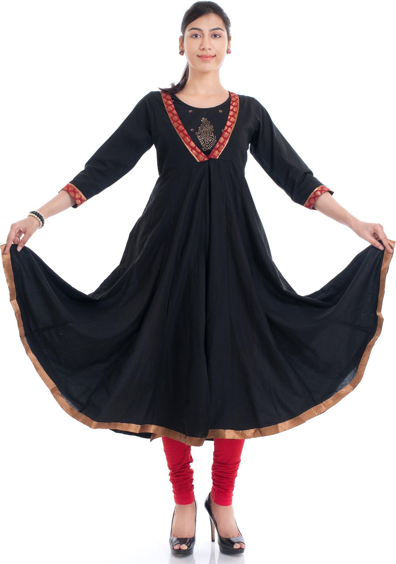 Naksh Jaipur Solid Womens Anarkali Kurta(Black)