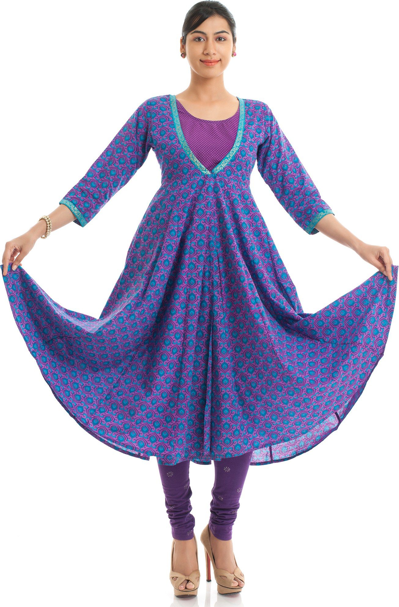 Naksh Jaipur Printed Womens Anarkali Kurta(Purple)