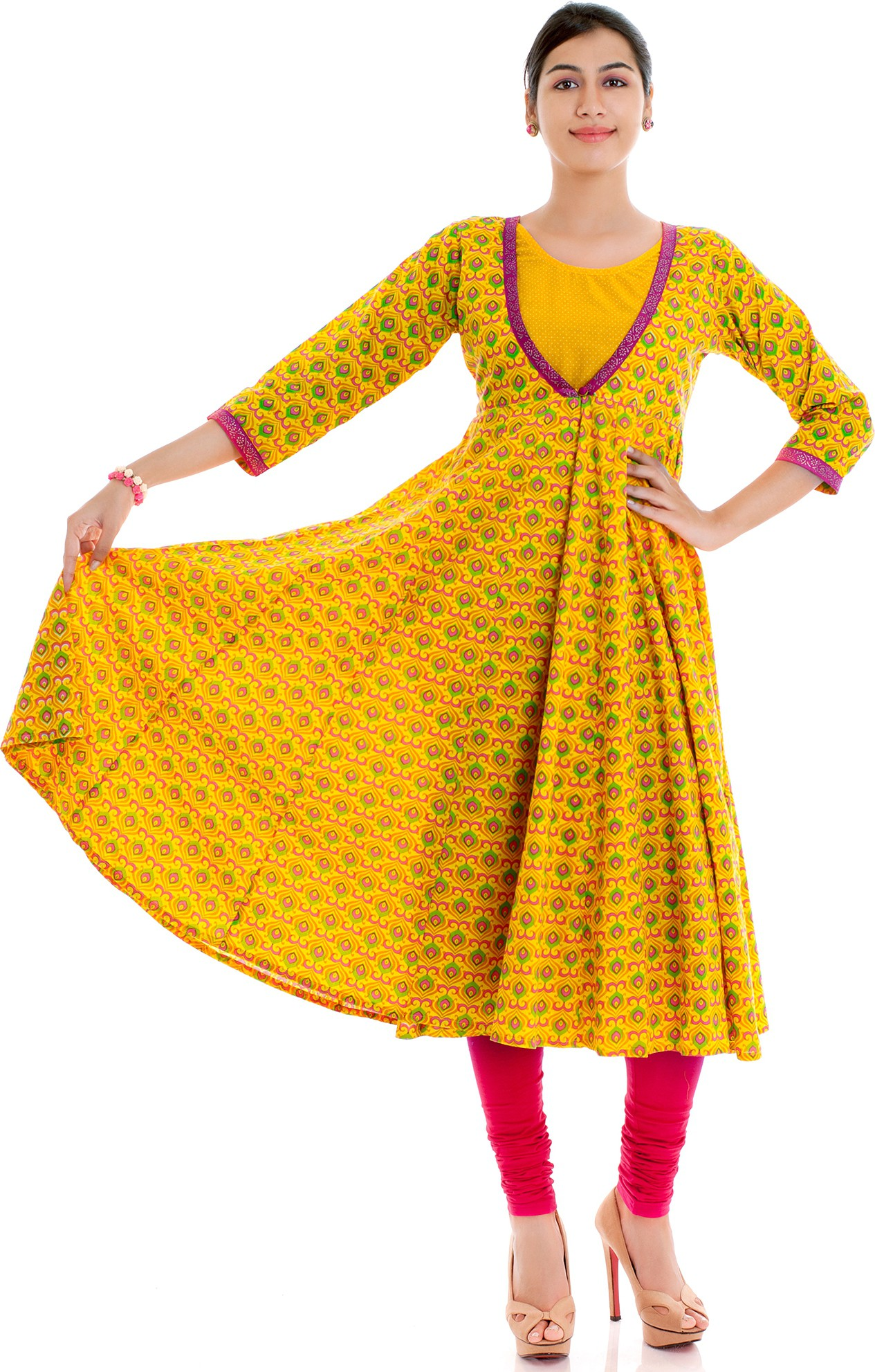 Naksh Jaipur Printed Womens Anarkali Kurta(Yellow)