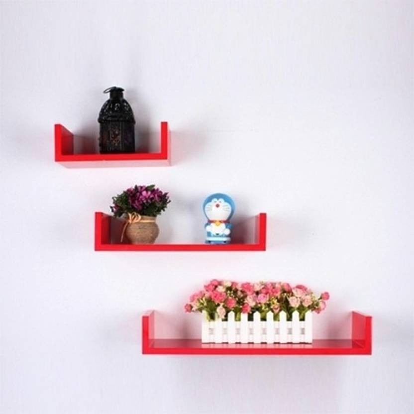 View Forex Max Handicrafts u shaped wall red romance Wooden Wall Shelf(Number of Shelves - 3, Red) Furniture (Forex Max Handicrafts)