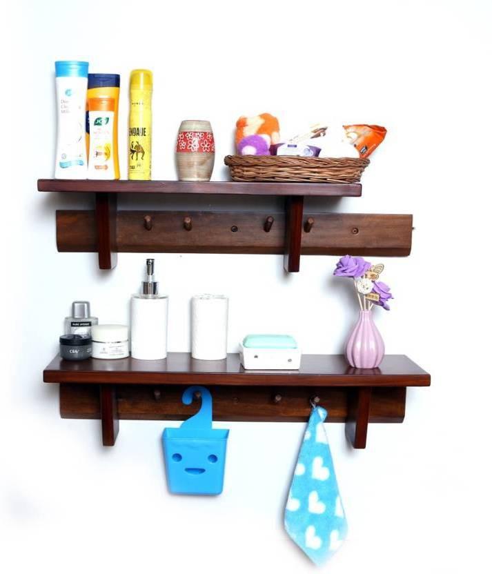 View india wooden handicraft wall shelf Wooden Wall Shelf(Number of Shelves - 2, Brown) Furniture (India Wooden Handicrafts)