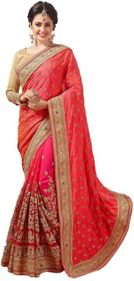 Pragati Fashion Hab Embroidered Fashion Dupion Silk, Net Saree(Orange) at flipkart