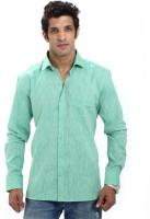 Variancevesture Formal Shirts (Men's) - VarianceVesture Men's Solid Formal Linen Light Green Shirt
