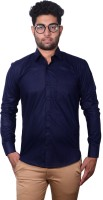 Sky Heights Formal Shirts (Men's) - Sky Heights Men's Solid Formal Dark Blue Shirt