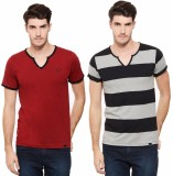 Rigo Solid Men's V-neck Multicolor T-Shi...
