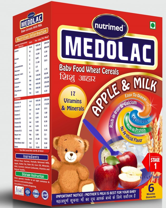 Nutrimed Medolac Baby Food (6 Months Onwards) Apple, Milk Cereal for Babies & Infants(300 g, Pack of 1)