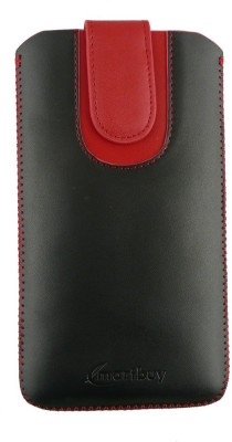 Emartbuy Pouch for Alcatel OneTouch Idol 3 (4.7 Inch )(Black / Red Plain)