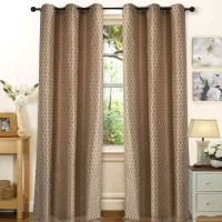 Deco Essential Polyester Dark Brown Beige Plain Eyelet Window Curtain(152.2 cm in Height, Single Curtain)