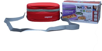 Nayasa high grade super insulated delux duplex (red,stainless steel) 3 Containers Lunch Box(1500 ml)