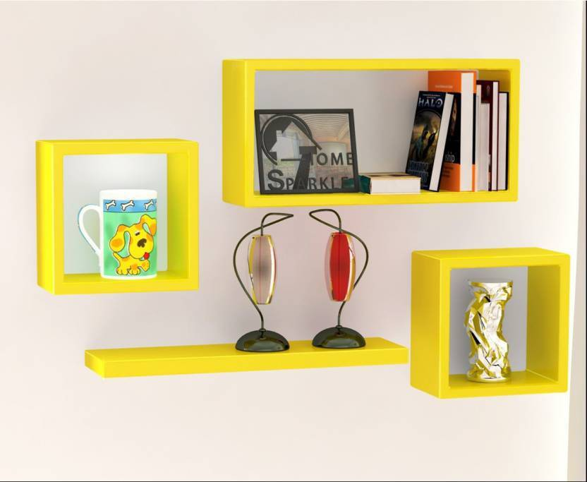 View Forex Max Handicrafts set of cube square plain Wooden Wall Shelf(Number of Shelves - 4, Yellow) Furniture (Forex Max Handicrafts)