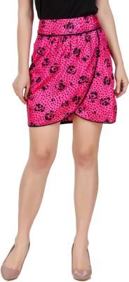 99 Affair Printed Girls Layered Pink Skirt