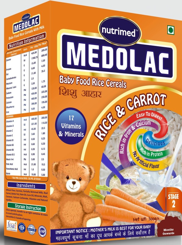 Nutrimed Medolac Baby Food (8 Months Onwards) Carrot Rice Cereal for Babies & Infants(300 g, Pack of 1)