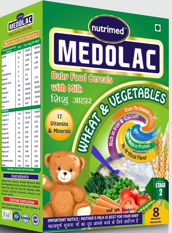 Nutrimed Medolac Baby Food (8 Months Onwards) Vegetables & Wheat Cereal for Babies & Infants(300 g, Pack of 1)