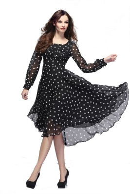 Crease & Clips Women's Fit and Flare Black Dress at flipkart