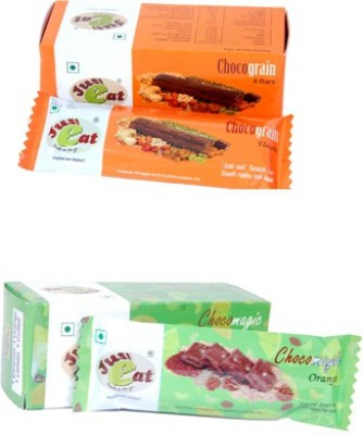 Just eat Snack on the go... Chocograin Elaichi and Chocomagic Orange(Each Pack of 4 Bar) Energy Bars(8 No, elaichi, orange)