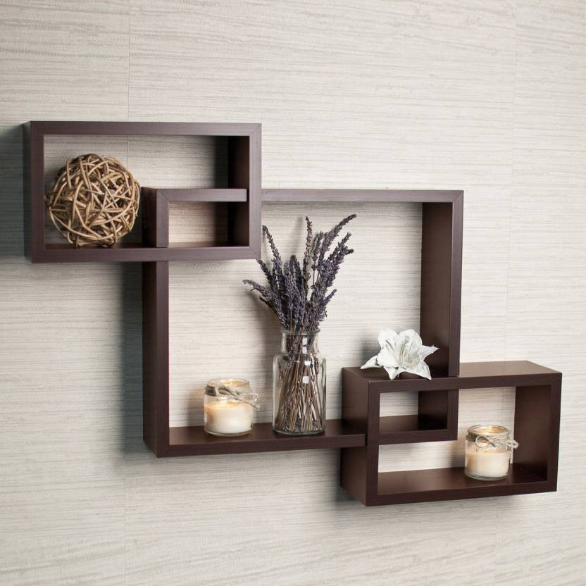 View Forex Max Handicrafts Inter secting Wooden Wall Shelf(Number of Shelves - 3, Brown) Furniture (Forex Max Handicrafts)
