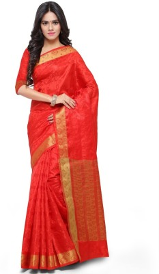 Aagaman Fashion Woven Fashion Art Silk Saree(Red) at flipkart
