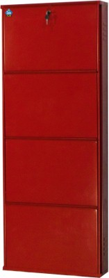 Delite Kom Metal Shoe Cabinet(Red, 4 Shelves)