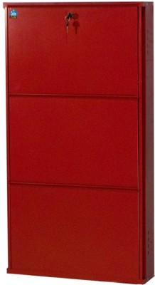 Delite Kom Metal Shoe Cabinet(Red, 3 Shelves)