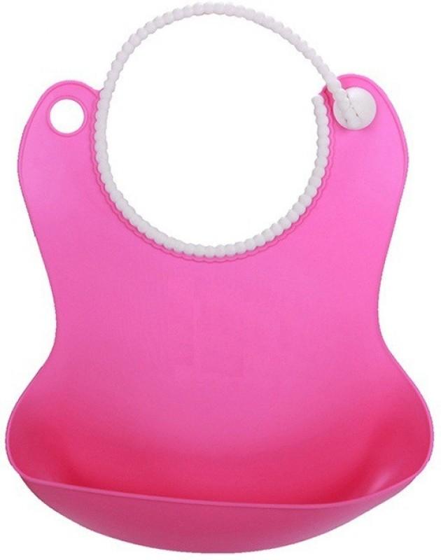 Wishkey Pink Baby Bib With Crumb Catcher(Pink)