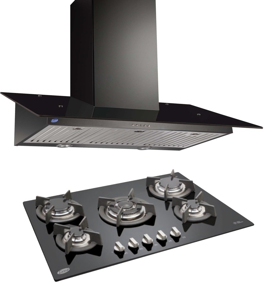 GLEN Glen Cooker Hood(Chimney)�6077 Black 1000BF 60cm LTW + BUILT IN HOB 1075 TR GLASS ( COMBOS ) Wall Mounted Chimney(Black 1000)
