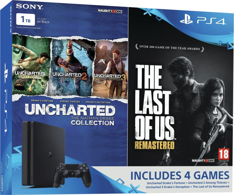 Sony PlayStation 4 (PS4) Slim 1 TB with The Last of Us and Uncharted Collection(Jet Black)