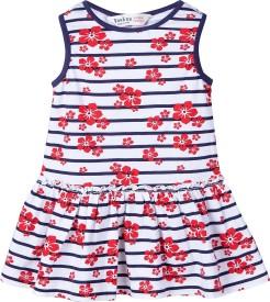 Beebay Baby Girl's Midi/Knee Length Casual Dress(Multicolor, Sleeveless)