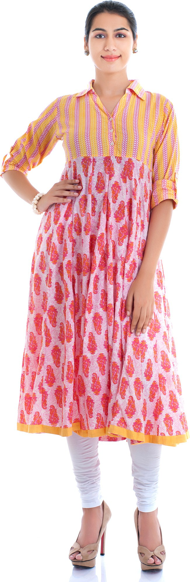 Naksh Jaipur Printed Womens Anarkali Kurta(Pink)