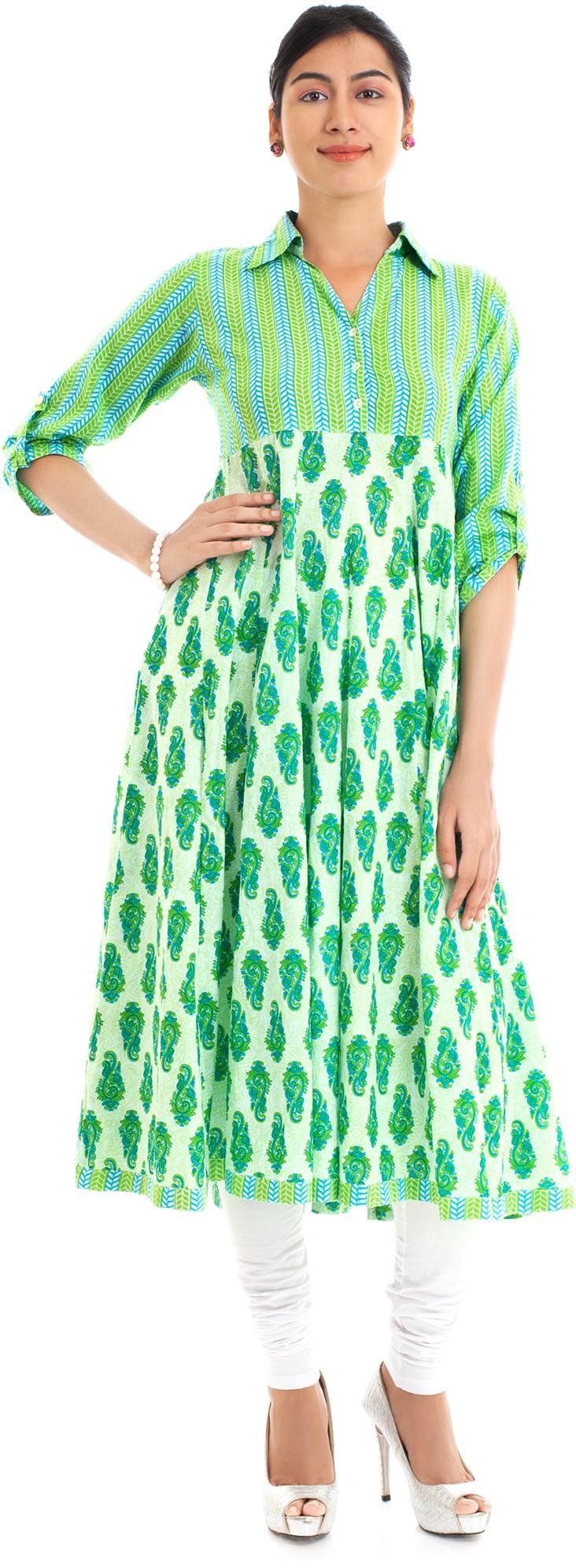 Naksh Jaipur Printed Womens Anarkali Kurta(Green)