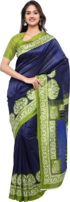 Livie Geometric Print Fashion Art Silk Saree(Blue, Green)
