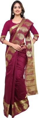 Lehja Self Design Kanjivaram Art Silk Saree(Purple) at flipkart
