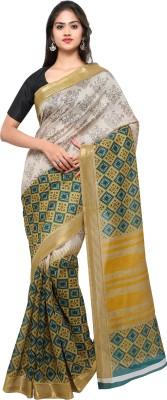Livie Geometric Print Fashion Art Silk Saree(Beige, Yellow)