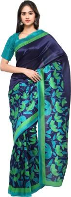 Livie Floral Print Fashion Art Silk Saree(Blue, Green)