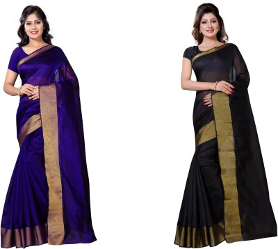 VIMALNATH SYNTHETICS Solid Fashion Raw Silk Saree(Pack of 2, Multicolor) at flipkart