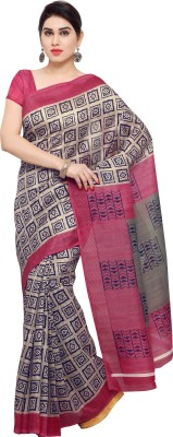 Livie Geometric Print Fashion Art Silk Saree(Beige, Red)
