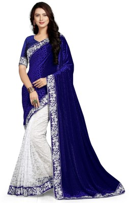 Googlee Self Design, Applique, Embroidered, Woven Bollywood Velvet, Net Saree(Dark Blue) at flipkart