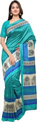 Livie Geometric Print Fashion Art Silk Saree(Blue)