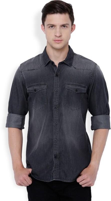 Highlander Men's Solid Casual Grey Shirt