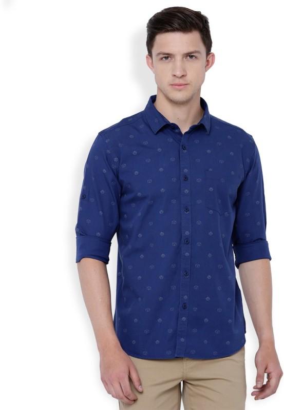 Highlander Men's Printed Casual Blue Shirt