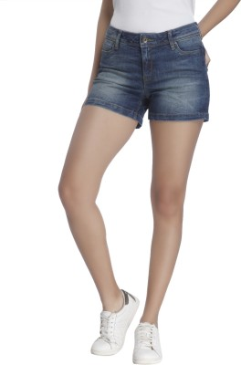 Vero Moda Solid Women's Blue Denim Shorts at flipkart