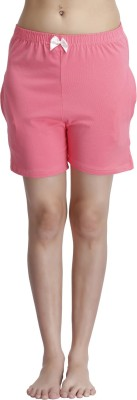 Clovia Solid Women's Pink Night Shorts at flipkart