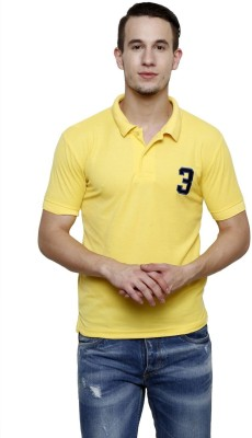 100 Tees Solid Mens Polo Neck Yellow T-Shirt