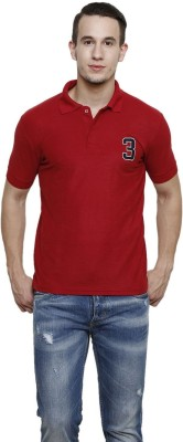 100 Tees Solid Mens Polo Neck Maroon T-Shirt