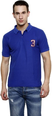 100 Tees Solid Mens Polo Neck Blue T-Shirt