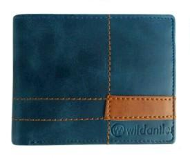 Wildantler Men Blue Genuine Leather Wallet(6 Card Slots)